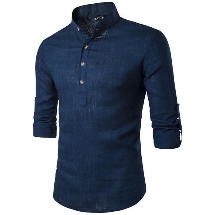 Chemise Affaires Loisir Homme Manches Longues Style Casual Slim Fit Shirt d67da4d2691e