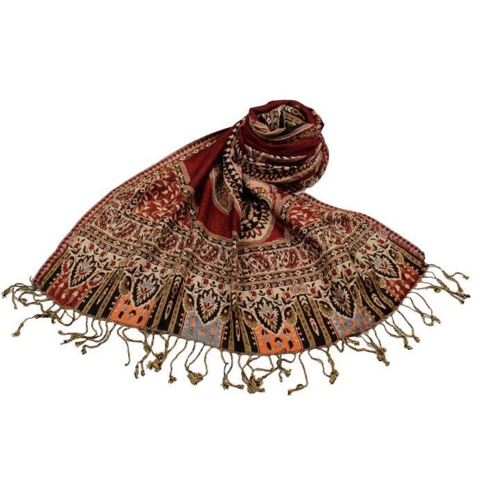 ECHARPE - FOULARD SHANKARA Etole Viscose Motif Cachemire Ajouré N27 9c2fabe8290