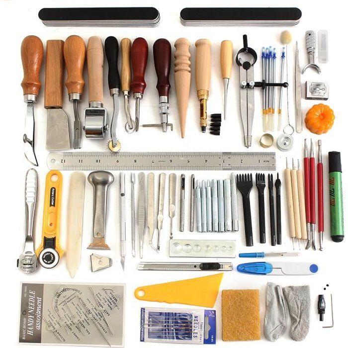 60PCS ensemble leathercraft Cuir outils artisanat punch kit couture ... 5113b35ba34