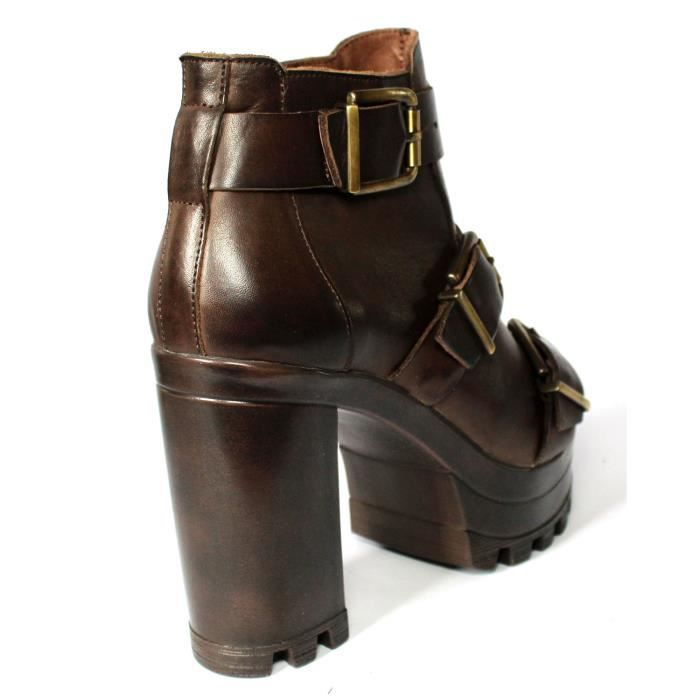 CHAUSSURES FEMME LOW BOOT CUIR MARRON T 37 NEUVES