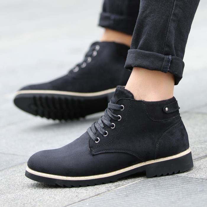 f311bca21fac1 ... Bottes noir Desert Boots hommes Chaussures Marque Bottines cuir d hiver  Chaussures Coton pour pour ...