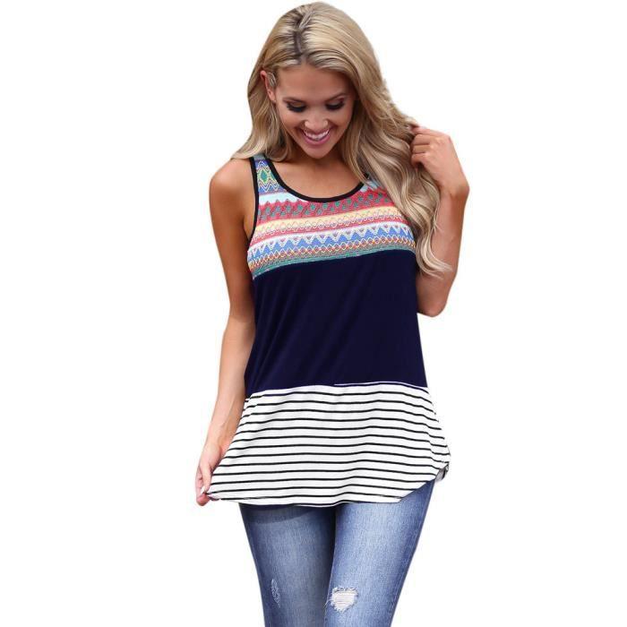 Tops Femmes Blouse Manches L Gilet T Cou Sans Navy Lnp80326362nyl Dames O shirt Débardeur w1qwa06r