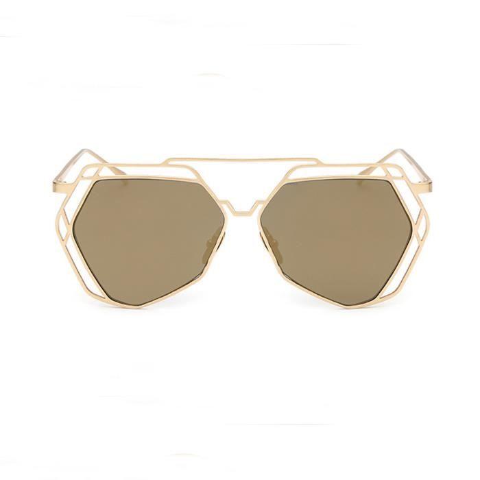 ... Double Poutres Géométrie Design Femmes Metal Frame Miroir Lunettes de  soleil chat Lunettes or-LJL70321134C 1234 e318f5bb092b