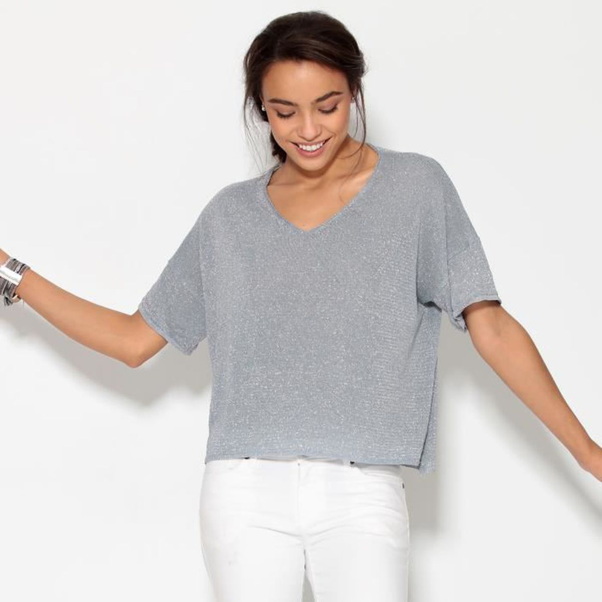 ramasser hot-vente authentique haute couture Pull fin asymétrique fils métallisés femme - Achat / Vente ...