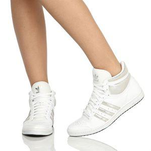Ten Femme Blanc Top Baskets Et Achat Adidas Argent Pailleté L3jc54SARq