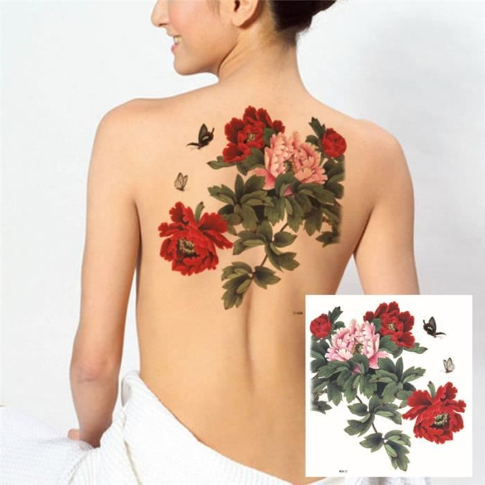 Faux Dos Tatouages Fleur De Pivoine Tatouage Temporaire Autocollants