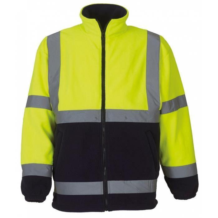 gilet veste polaire de s curit haute visibilit jaune fluo bas bleu hvk08 jaune achat. Black Bedroom Furniture Sets. Home Design Ideas