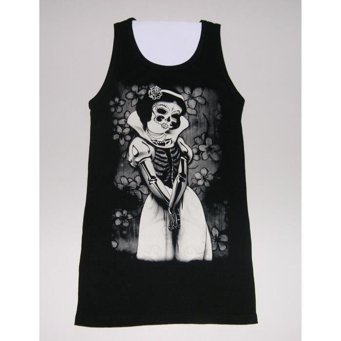 9641224595997 Débardeur t-shirt blanche neige. femme gothique rock punk Blanc noir ...