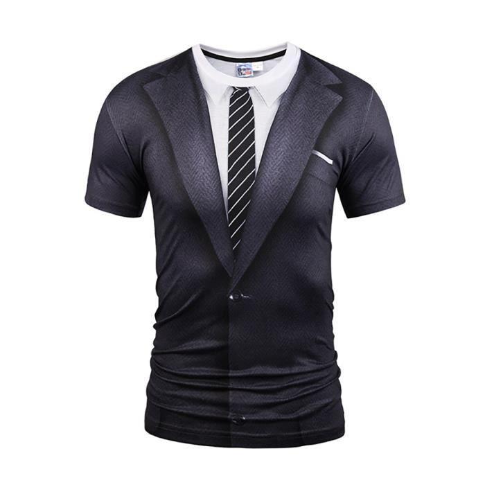 faux costume à Tee Shirt Homme Tee Shirt à 3D Impression Coupe Droite de  Casual Homme 16f1e1c6b41