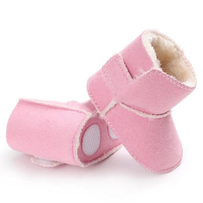 Bottes de neige Nouveau Chaussures de bébé Tendance Loisirs Garde au chaud Chaussures en coton bébé-rose