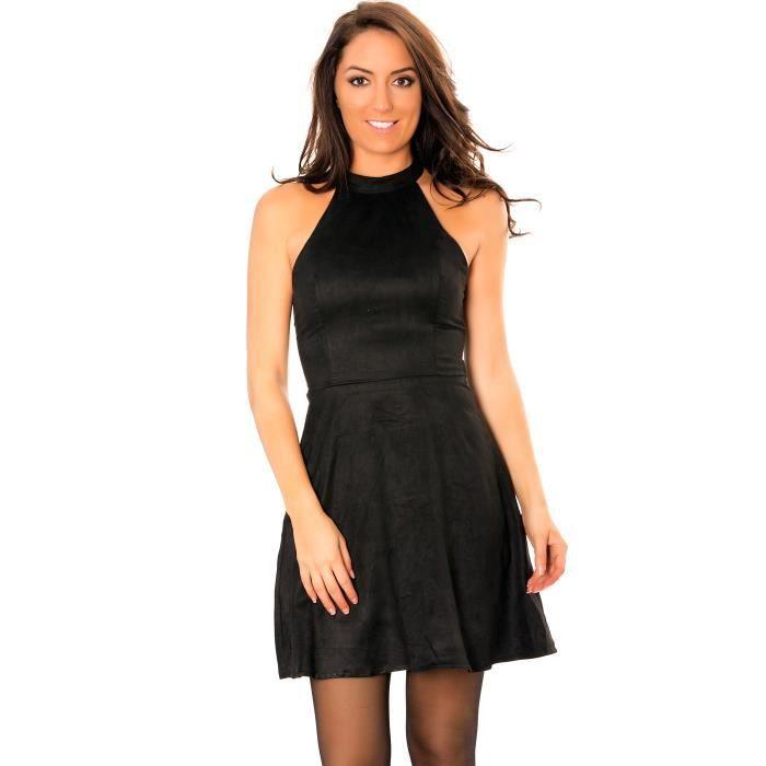 4de8b45b078 Sublime robe patineuse noire style suédine avec dos à lacets croisés ...