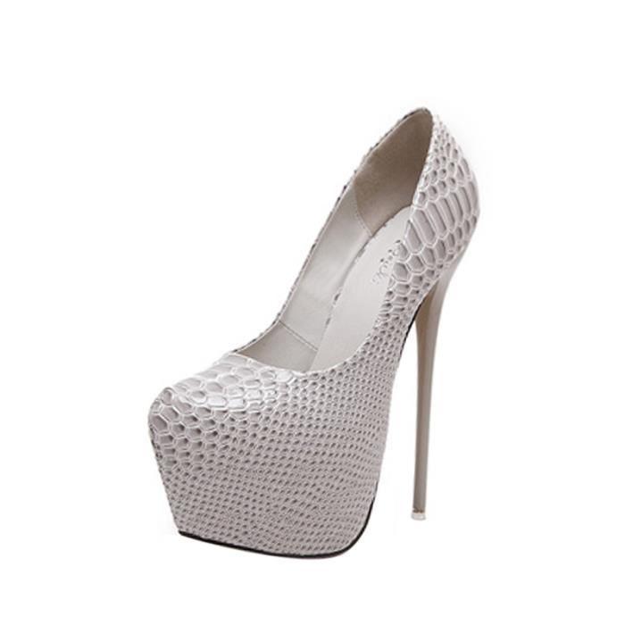 Escarpin Femmes Chaussures Motif Crocodile plateforme talon mince ultra haute pompes 1407667