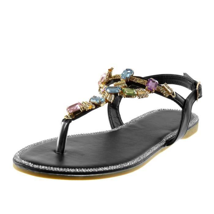 Angkorly - Chaussure Mode Sandale Tong salomés lanière cheville femme bijoux strass diamant fantaisie Talon bloc 1.5 CM - Noir -