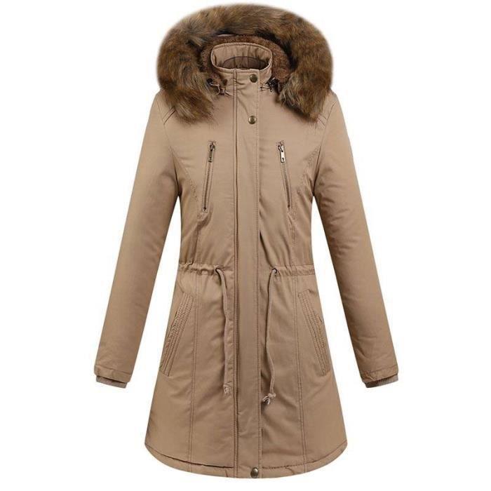 10ff4944fd Boutique Hugo-Hiver Chaud Parka Mi-Longue Femme Capuche fausse fourrure  Epais Manteau Femme Avec Capot Amovible