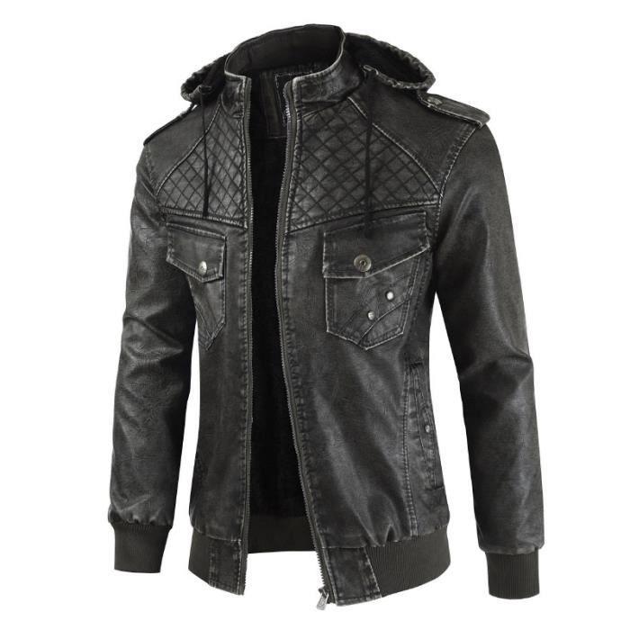 Capuche Hiver Manteau Zipper Veste de à Pu Cuir Cuir Moto Faux Homme Cuir Homme qzpSVUM