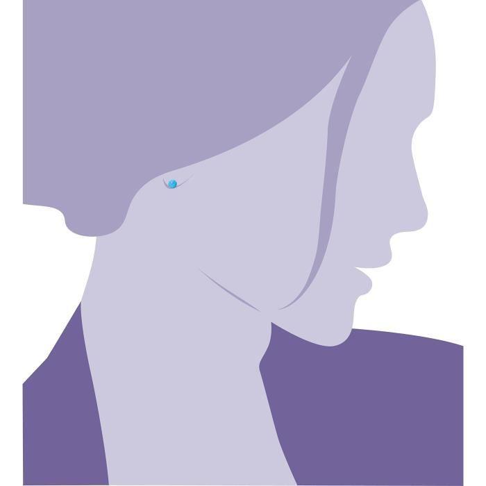 Femmes en argent et bleu synthétique Opale Boucles doreilles à billes 1NS0OM