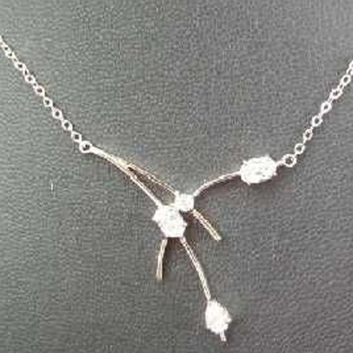 Collier Plaqué-Or Etincelles Blanc