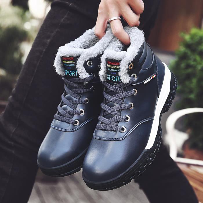 Baskets hommes Bottes hommes hiver Baskets femme chauds PU bottes en coton 6gcuvpFViU