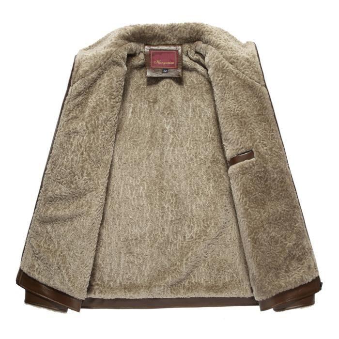 Lapel En D'hiver Zipper Veste Hauts Imitation Manteau Color D'homme Mode Marron Pure De Cuir qnSFg0f