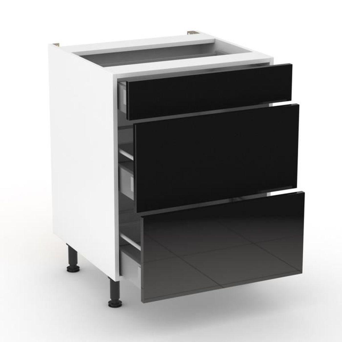 Rimini noir meuble de cuisine bas noir 1 tiroir 2 tiroirs casseroliers 60cm achat vente - Cuisine meuble noir ...