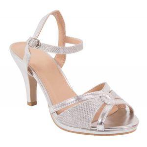 Chaussures mariage argentées femme type sandales argentées à petit ... e3b9b40b2847