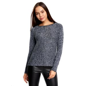 DERBY Women's Textured Pullover With Leather Neck Detail