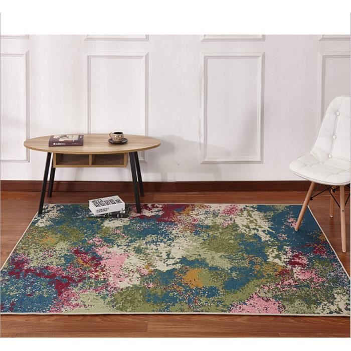 tapis multicolore peinture abstraite tapis de salon 120160cm votre univers - Tapis Multicolore