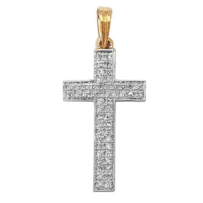 Pendentif Femme Croix Or 375-1000 et Diamant Brillant 0.16 Carat GH - SI - 28mm*13mm