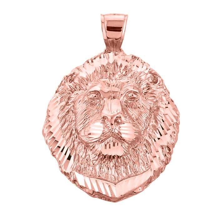 Collier Pendentif14 ct tête 585/1000 Diamant Coupe Lion en or rose