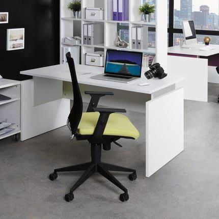 Bureau professionnel droit 140x80cm coloris blanc et alu Achat