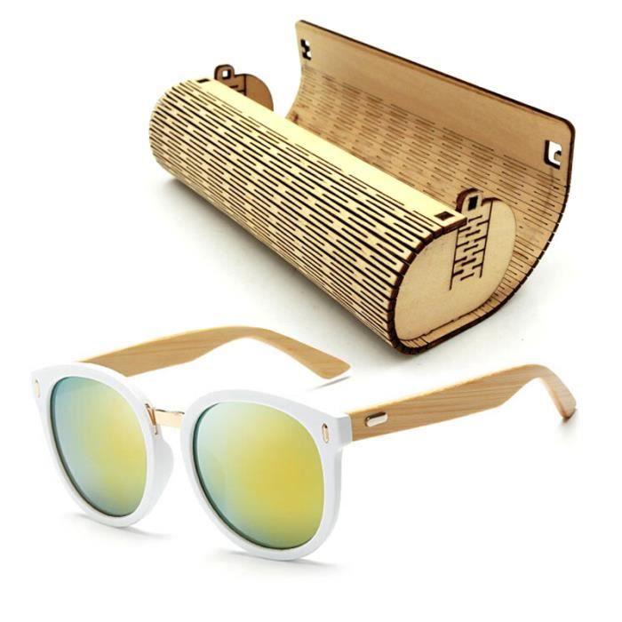 485c32cb604ff7 Bois de haute qualité en bambou Lunettes de soleil Hommes Classique Bambou  jambe Plage Lunettes de soleil