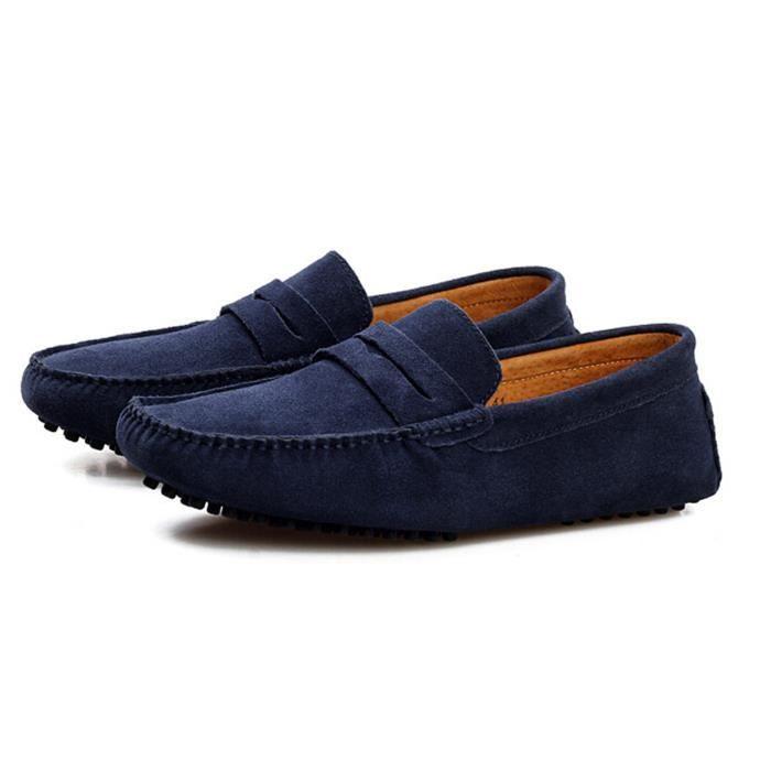Nubuck Homme mocassin chaussures business formel bleu QPuUK