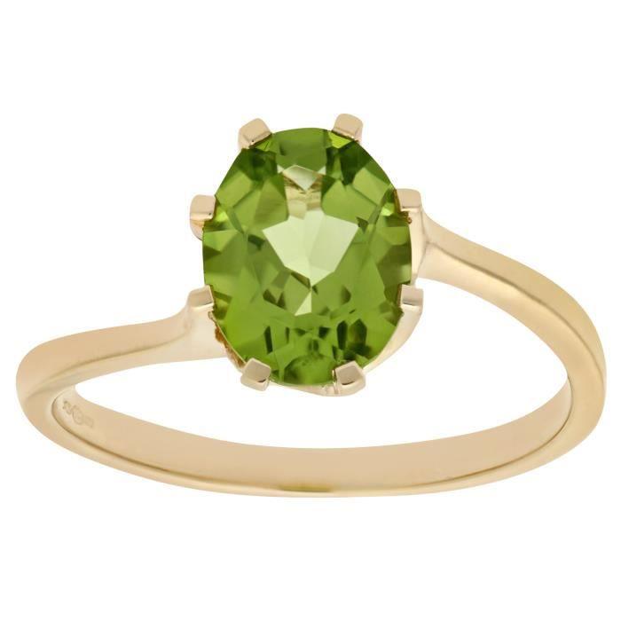 Revoni Bague Solitaire Péridot et Diamant Or Jaune 375° Femme - CD-PR08438YPD-P