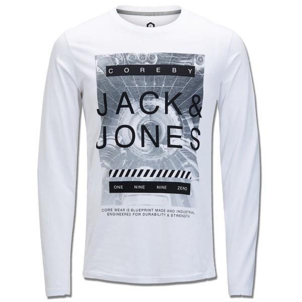 T-shirt Jack jones Graphique Blanc White - Achat   Vente t-shirt ... 26574ebd7db7