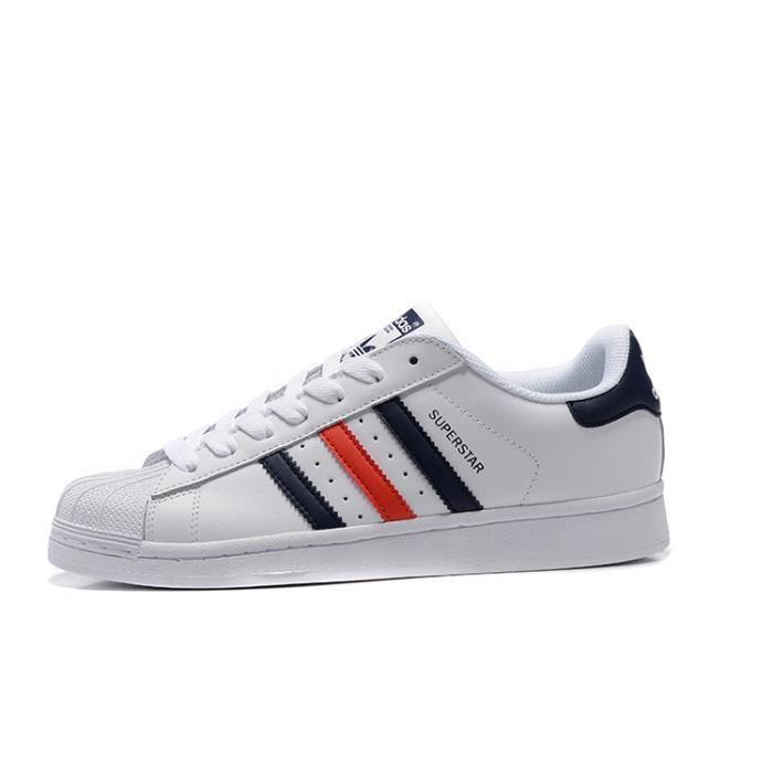 Basket Adidas Originals Superstar, Chaussures de Tennis Homme ou Femme Ftw Blanc/Bleu/Rouge