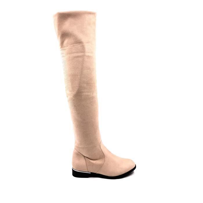 CHIC NANA . Chaussure femme cuissarde plate en effet daim, dotée d'un bout rond en couleur Bordeau 36