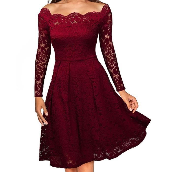 2017 Elegant Lace OFF épaule robe solide à manches longues A-Line mode sexy Slim Party robes plus taille S-XXL