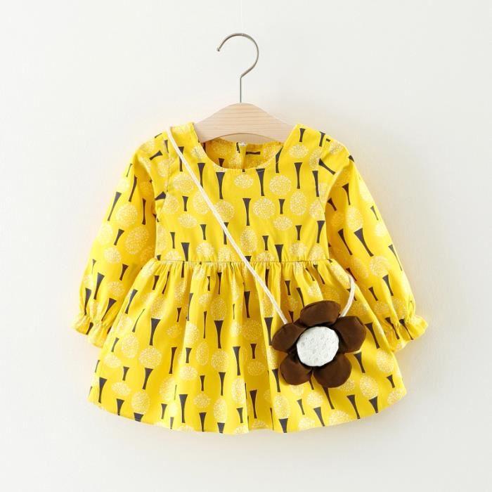 2017 automne fille robe bébé robe à manches longues + accessoires petit sac