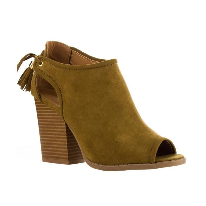Fashion Vegan Suede Cut Out Peep Toe Chunky Bloc Stacked Slip talon bottillons cheville O47F6 Taille-37