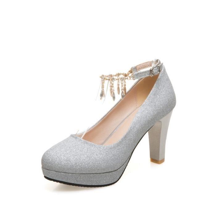 21bd6895aa979a Chaussures Femme élégant Mariage Talons Hauts Boucle à Un Bouton été 9 Cm