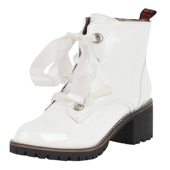 En Cuir tied Place Croix Femme La Anti slip Chaussures Bottes Talon De À Bout Lhb7149 Rond qn6AOw