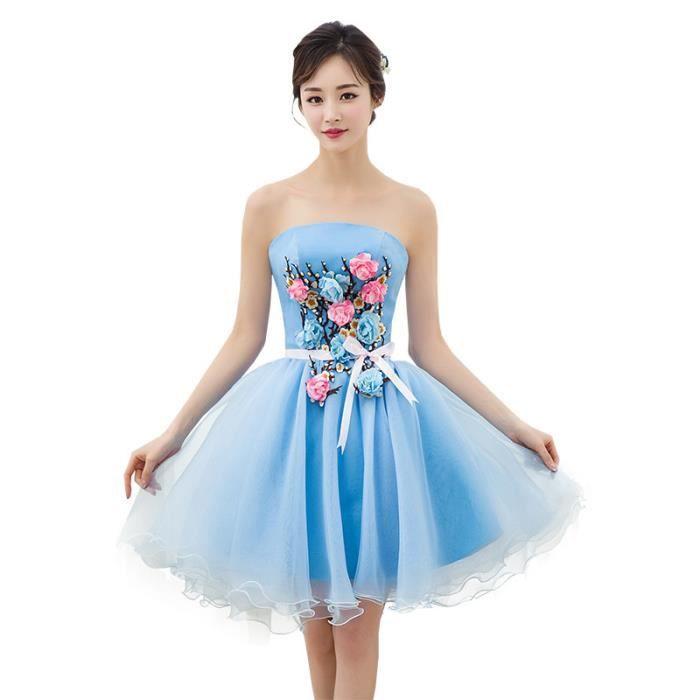 a818f2f43c2 Robe BLEU Courte Robe de soirée Mariage Bal Fête Anniversaire Robe Chiffon  avec des Fleurs Lace Pour Femme WK814-36