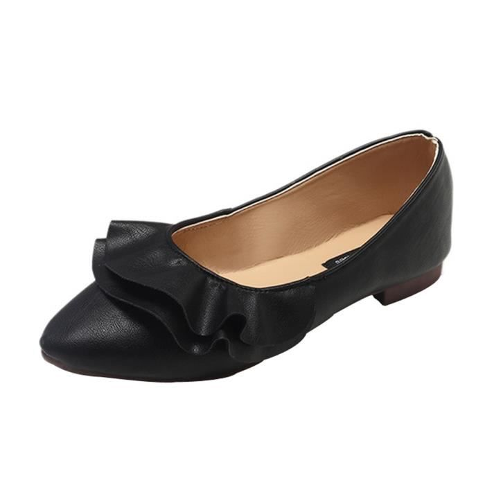 Toe Slip Plissé 9705 Mode Femmes on Confortables Pionted Casual Chaussures Plat wqSx1BE