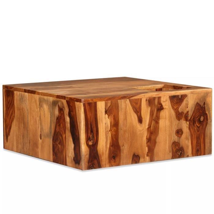 Sesham Carré Style Basse X 30 Table Contemporain Massif Cm Bois 70 De n0ZO8PXNwk