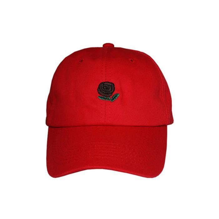 e8f144cc161e3 Fleur rose brodée en plein air Snapback Hip Hop Hommes Femmes Casquette de baseball  Chapeau Rouge