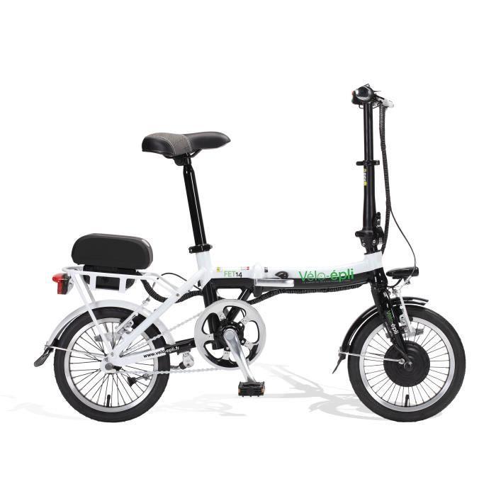 94c86e391005e5 Vélo électrique pliant FET14 VELO-EPLI Noir et blanc - Prix pas cher ...
