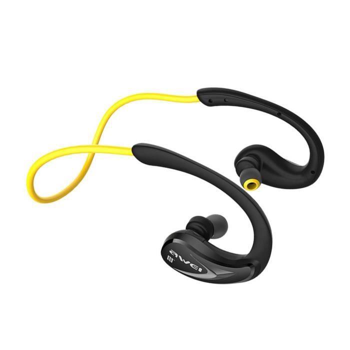 Casque Bluetooth 4.1 Écouteurs Stéréo Sans Fil Sport Avec Ipx4 Antisueur Running In-ear Casques Micro -jaune