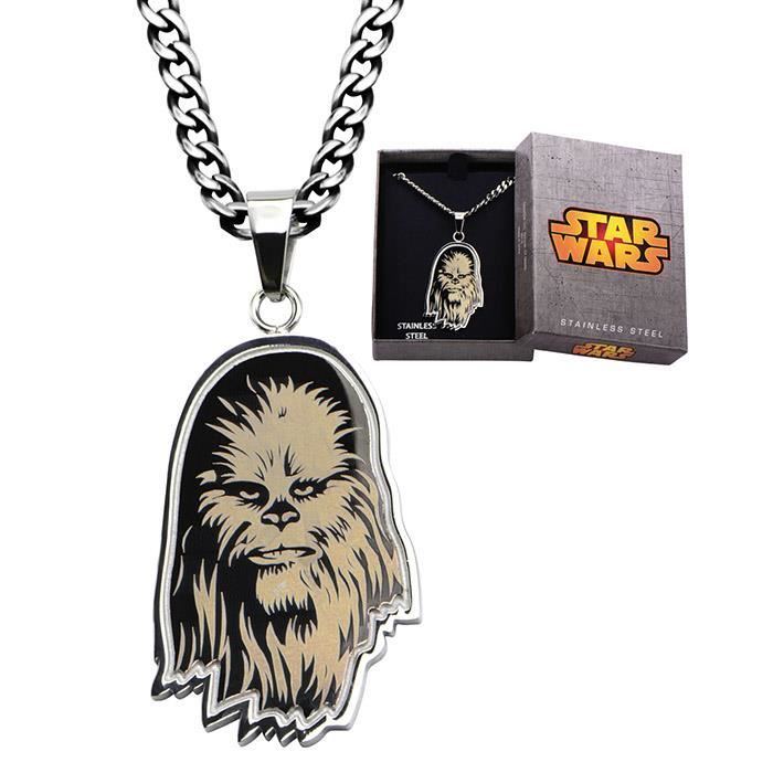 Officiel en Acier Inoxydable Gravé Star Wars Chewbacca Pendentif Livré avec Chaîne - Coffret