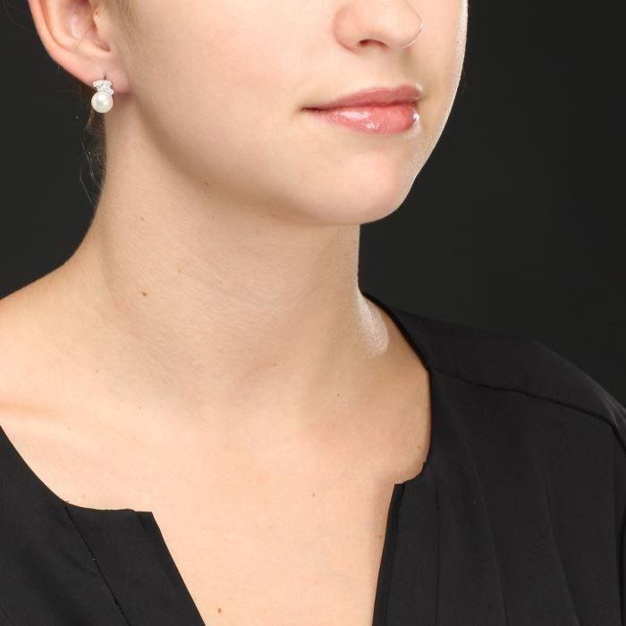 Mes-Bijoux.fr - Boucles doreilles Femme en Perles de culture Blanche et Argent 925-1000 - 8E2681gv