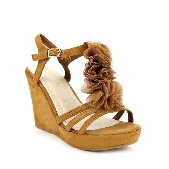 pieds Sandale Nu Femme Compensées Marron Cendriyon Chaussures CTnH5wTqxS